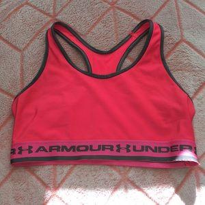 Hot pink under Armour sports bra